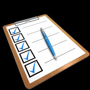 Feuille avec checklist à cocher
